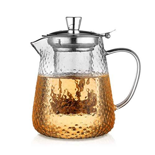 BAOWEN glazen theepot met roestvrijstalen infuus en deksel, borosilicaat glazen theepotten (880 Ml)