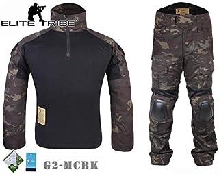 f6e81ce681b Elite Tribe Airsoft Caza táctico Militar para BDU Combate G2 Uniforme  Camiseta Pantalones Multicam Negro