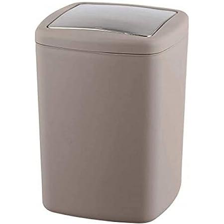 WENKO Poubelle Barcelona taupe - Poubelle incassable couvercle bacsulant Capacité: 8.5 l, Plastique (TPE), 20.5 x 28.5 x 20.5 cm, Taupe