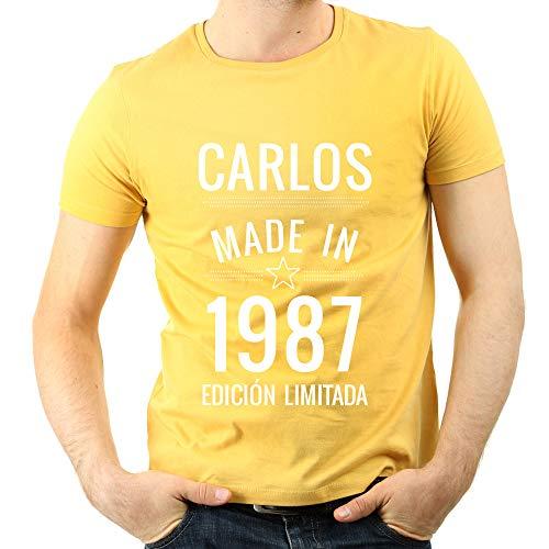 Regalo Personalizado para Hombres: Camiseta Made in Personalizada con su Nombre y año de Nacimiento (Amarillo): Amazon.es: Ropa y accesorios