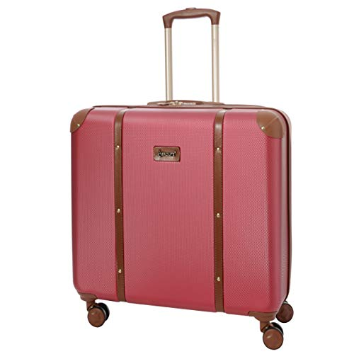 Aerolite Stylish Modern Classic Retro Vintage Trunk Style ABS Hard Shell Check in Checked Hold Luggage Suitcase with 4 Wheels, 24', Winter Rose