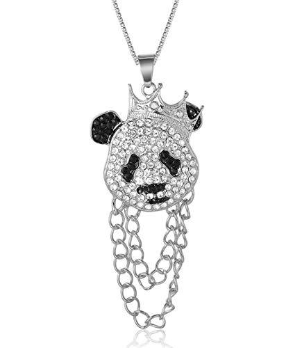 Halukakah Cadena de Oro Hombres Iced out,Platino Plateado en Oro Blanco Corona Panda Colgante Collar,Cz Completo Diamante de Laboratorios Prong Set,con Cadena Tenis Bebé 50cm,Gratis Caja de Regalo