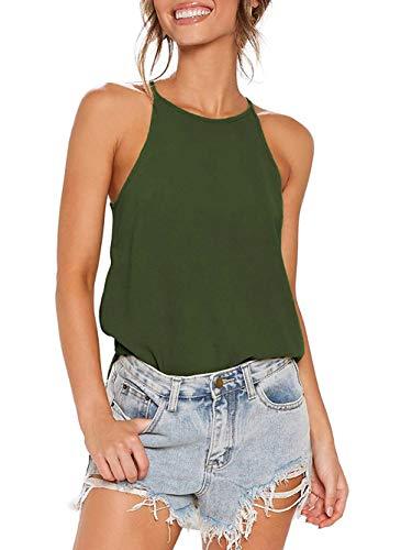 iChunhua - Camiseta de manga larga para mujer, cuello halter, algodón, sin mangas, lisa, talla S-XL Verde verde oliva L
