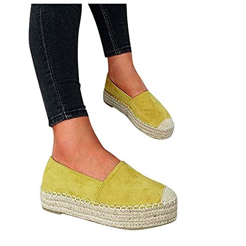 LQIAO Zapatos Planos clásicos sin Cordones para Mujer Mocasines de Alpargatas Simples con Punta de Casquillo Informal 🔥