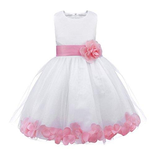 IEFIEL Vestido Elegante de Fiesta Boda para Niña Vestido Flores de Dama de Honor Vestido Blanco de Bautizo Vestido Princesa de Ceremonia Rosa A 3 años