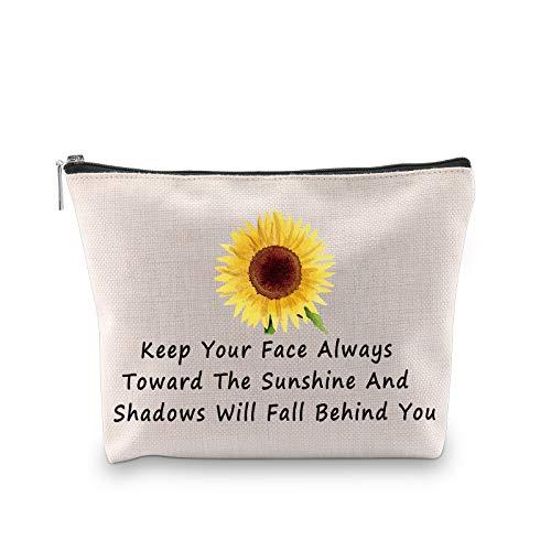 PXTIDY Sonnenblumen-Beutel halten Ihr Gesicht immer in Richtung der Sonne und Schatten fallen hinter Ihnen, Sonnenblumen-Make-up-Tasche, Kosmetiktasche, Kulturbeutel., beige (Beige) - 1