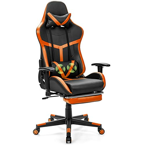 Giantex Gaming Chair Massage Racing Style High Back Ergonomic Office Chair Executive Swivel Computer Chair with Massage Lumbar Support, Headrest and Footrest (Orange)
