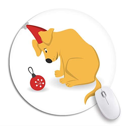 Rundes Mauspad Tier Tier Cartoon Hund Weihnachtsbaum Spielzeug Rasterized Copy Beagle Rutschfeste Gummibasis Mausmatte Gaming Mousepad für Computer
