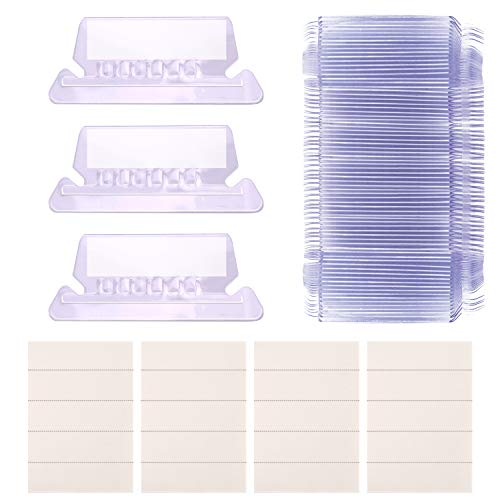 AIEX Hanging File Tabs and Inserts Clear File Folder Labels Filing Tabs for File Identification, Easy to Read(2 Inch, 50 White Inserts+50 Plastic Tabs)