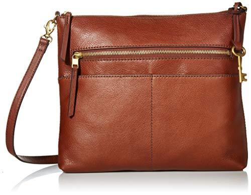 Fossil Women's Fiona Leather Large Crossbody Purse Handbag, Brown