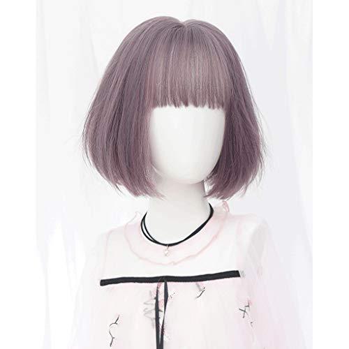 GXF Perruques cheveux courts et lisses Rose 30 cm