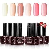 Gellen Gel Colors Nail Polish Kit Apricot Pink Peach - 6 Colors With Top Coat Base Coat 8ml Each...