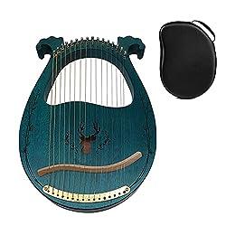 Harp de Lyre en bois massif, hauteur de cordes en acajou 16 en métal avec clé de réglage Chaîne de rechange sac de transport, adapté aux enfants amants de musique nouveaux débutants, cadeau