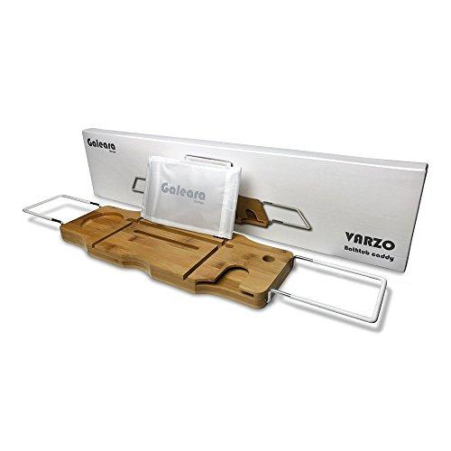 Badewannenablage für tablet und Glashaltertablett mit Weißem Anti Rutsch Gummi
