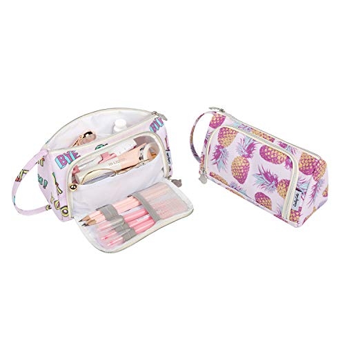 Lowkey Cutie Cosmetic Toiletries Makeup Bag Pencil Pouch Case Holder for Kindergarten, Primary, Middle, School Girl Boy Travel Pouches