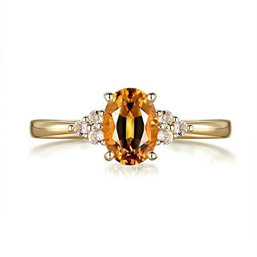 Aimrio Echtgold 18 Karat Damen Ring, Hochzeitsringe Gold 750 mit Citrin und 0.08CT Diamant Echt Schmuck Ring 0.91 carat Größe 53 (16.9)