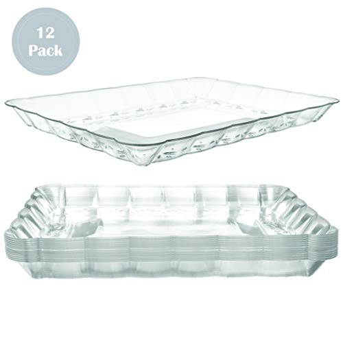 Plastic Serving Trays – Serving Platters | 12 Pack, 9'X13' | Rectangular Disposable Party Platters and Trays | Clear Disposable Serving Trays for Parties | Party Serving Trays and Platters