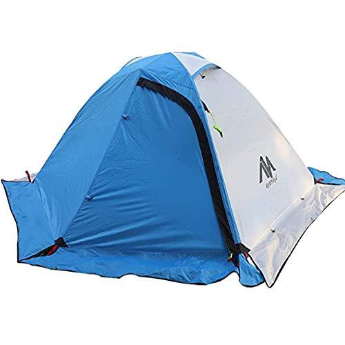 Zelt 2 Personen Trekkingzelt Wasserdicht, Doppelwandig 2 Mann Backpacking Zelt Ultraleicht Kleines Packmaß [2 Türen] Fahrradtour Zelt Kuppelzelt Mit Schneerock für Trekking, Outdoor, Camping, Rucksack