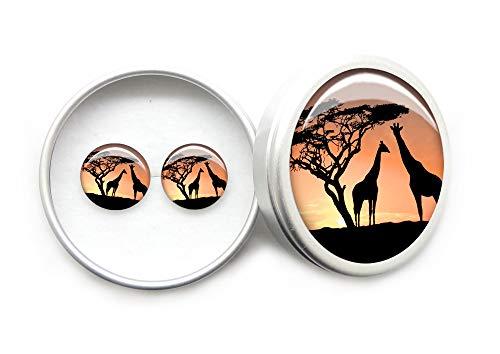 Damen Schmuck Ohrringe 12mm 925 Sterling Silber Ohrstecker Mädchen Moden Rot Geschenkbox Afrikanische Giraffe