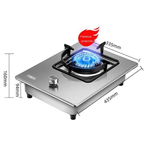 HJJ Placa de Gas Olla Construido en una Estufa a Gas for cocinar portátil Individual Cocina, quemadores de Hierro Fundido 1 Portable - 33.5X43.5X16CM [Clase energética A] (Color : Silver)