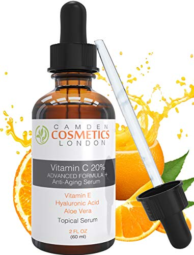 Vitamin C Serum For Face With Hyaluronic Acid + Vitamin E + Aloe Vera - LARGE 60ml Bottle By CAMDEN COSMETICS - Men/Women - 2oz Clinical Strength 20% Vitamin C Serum With Hyaluronic Acid: Most Recommended Premium Anti Ageing Serum for Increased Collagen Production & Less Fine Lines, Dark Spots & Wrinkles - 98% Natural Age Defying Serum with Organic Clinical Strength 20% Vitamin C + Moisturiser - Vitamin C Serum Vegan - Vitamin C Serum for Acne Scars, Plump, Hydrate, Brighten Skin, Makeup Primer