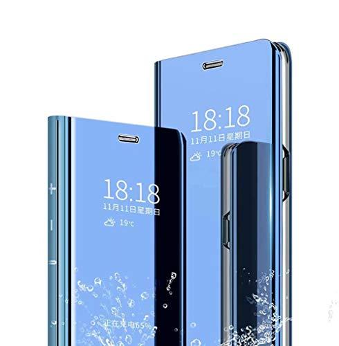 Wuzixi Hülle für Oppo Find X3 Lite. Smart Hülle, Tasche Smart Spiegelüberzug Sleep Flip Leder Tasche Smart Leder Tasche Schutzhülle für Oppo Find X3 Lite.Blau