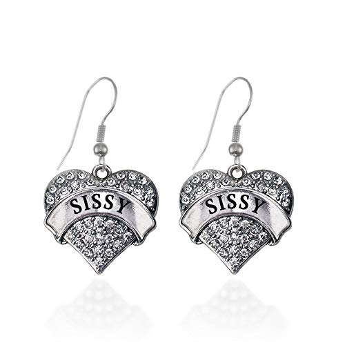 Inspired Silver - Sissy Charm Earrings for Women - Silver Pave Heart Charm French Hook Drop Earrings with Cubic Zirconia Jewelry
