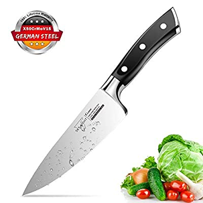 SKY LIGHT Chef Knife, 6 inch Pro Kitchen Knife Ultra Sharp Chef's Knife German High Carbon Stainless Steel Chef Cooking Knives with Ergonomic Handle