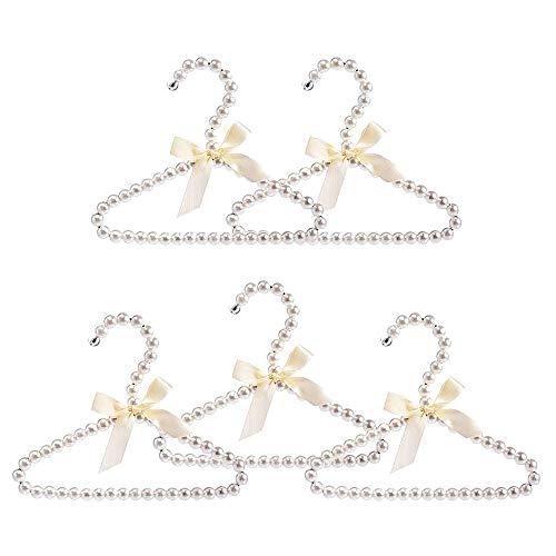 SODIAL 5Er Pack Faux Pearl KleiderbüGel, Elegante Modekleidung Standard KleiderbüGel für Kinder (Wei?)