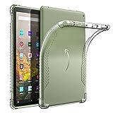 moko custodia compatibile con nuovo kindle fire hd 10 & 10 plus tablet (11a generazione, 2021 versione), custodia di tpu morbido con retro semi-trasparente di gomma, cover per tablet, transparente