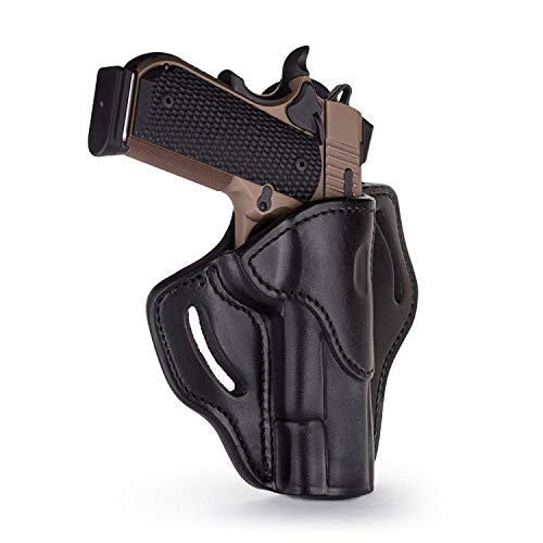 """1791 GUNLEATHER 1911 Holster, Right Hand OWB Leather Gun Holster for Belts fits All 1911 Models with 4"""" and 5"""" Barrels (Shiny Black)"""