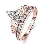 yichahu Joyería de oro rosa con circonita imperial corona de boda anillos de novia para mujer regalo