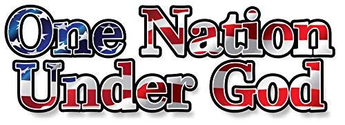 Etiqueta engomada del soporte de la bandera americana de One Nation Under Dios para el coche o el ordenador portátil... 8'