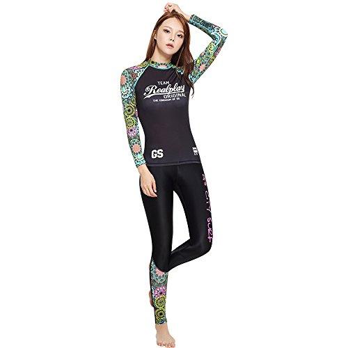 GSOU SNOW Women's 2 Pieces Long Sleeve Rash Guard Swimsuit UPF 50+ Surf Swimwear