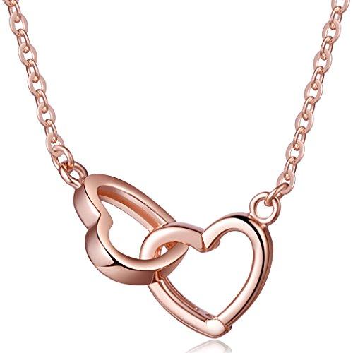 Yumilok Roségold 925 Sterling Silber Ineinander Verschlungene Herzen Anhänger Halskette Kette mit Verstellbarem Anhänger Y-Kette für Damen Mädchen