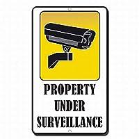 警告錫サインのプロパティの下で監視ガレージ金属標識通知安全セキュリティサイン通り装飾