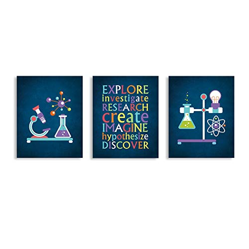 CHDITB Classroom Science Art Print, Creative Experiment Research Art Painting, Set of 3 Art Posters(8' x10' )Inspirational Quote Canvas Painting Poster For Classroom Laboratory Middle School Decor