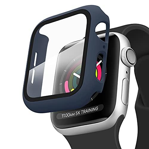 Amzpas Cover Compatibile per Apple Watch Series 6, Series 5, Series 4, SE 40mm Pellicola Protettiva, Custodia Rigida con Vetro Temperato per iWatch SE Series 6 Series 5 Series 4 (40mm, *Blu navy)