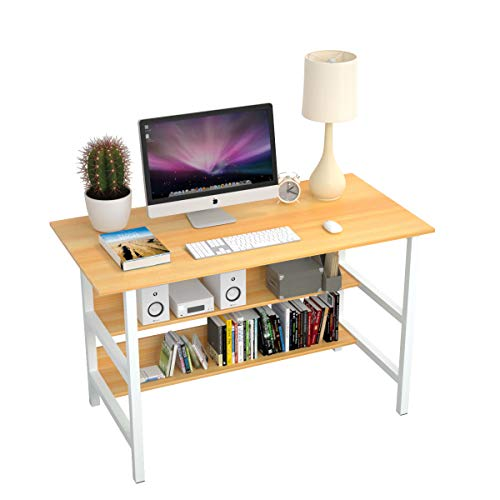 CLOCAR Home Office Desk 47x24'' Modern Sturdy Computer PC Writing Workstation Laptop Table with Storage Shelves for Study Room Bedroom Living Room