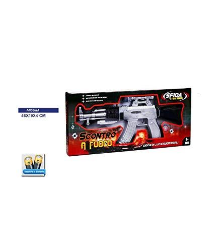 TradeShop - SCONTRO A Fuoco Mitra Fucile con LUCI E Suoni A BATTERIE Giocattolo Gioco Bambini - 30382