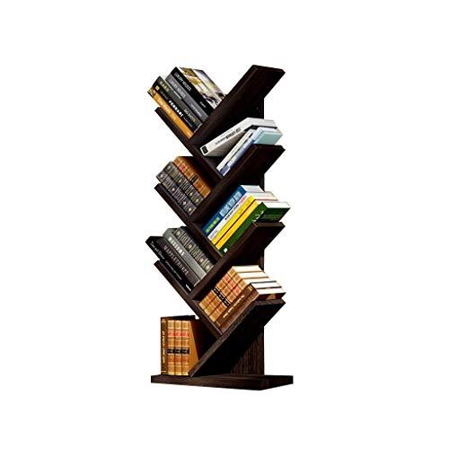 Rek, boekenkast, boom, creatief, boekenkast, 5/7 niveaus, boekenkast, voor kinderen, CD-deur, rooster (kleur: zwart, maat: 43 × 20 × 140 cm) rek