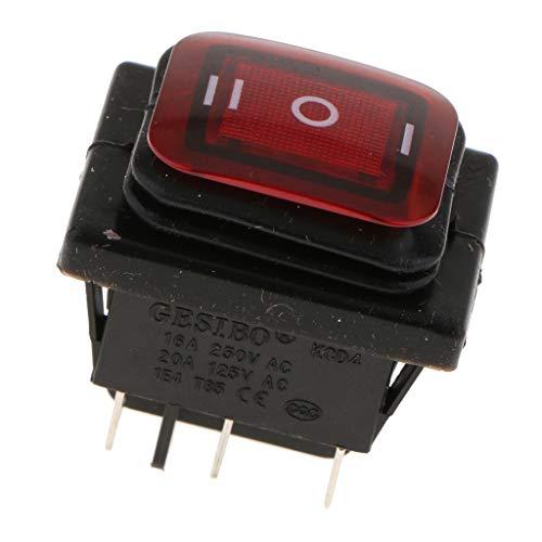 SDENSHI - Interruptor basculante redondo para barcos (corriente alterna 250V/16A, 125V/20A, 2 polos, montaje de panel de conmutación), color negro