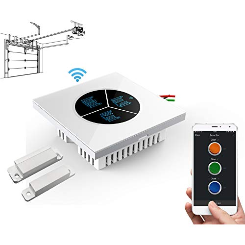 Wireless Garage Door Opener Remote WiFi Switch Universal Controlled by Smartphone for Automatic Gate Opener System (with Door Sensor)