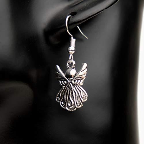 Ohrringe LITTLE ANGEL Engel Religion Schutzengel versilbert antik hängend handmade einzigartig Damen Mädchen Schmuck Design modern filigran Muster Jugendstil