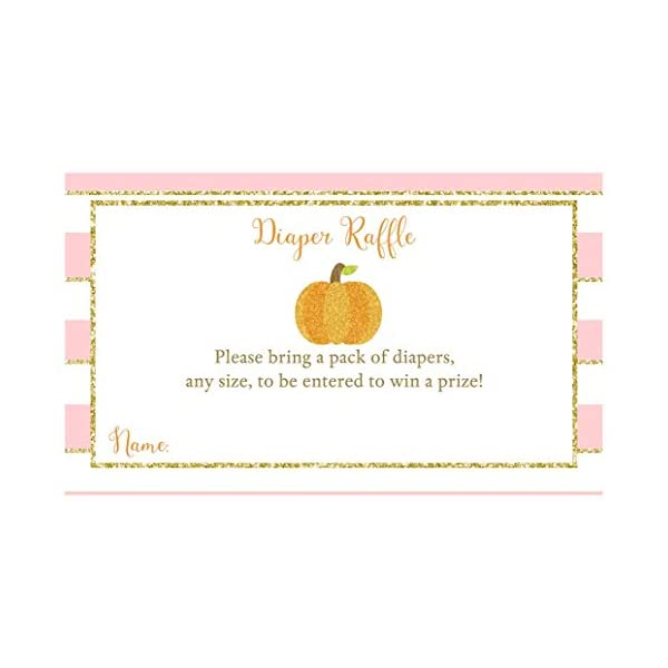 Diaper Raffle Tickets Sparkling Pumpkin Baby Shower Diaper Party Card Inserts Autumn Fall Sprinkle Halloween Orange Pink Gold Glitter Girls It's A Girl Diaper Request Harvest (25 count)