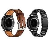 Yayuu Gear S3 Frontier/Classic Correa de Reloj Samsung Galaxy Watch 46mm Banda Pulseras de Repuesto, 22mm Acero Inoxidable Metal+Cuero Correas Pulsera para Moto 360 2nd Gen 46mm Smart Watch(2 Piezas)
