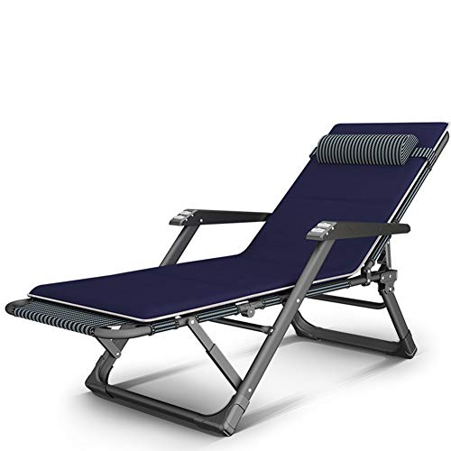 ZXCY Sillas Tumbona De Playa Jardín Patio Gravedad Cero Plegable Reclinable con Toallita De Algodón - 15 De Velocidad De Ajuste,Azul,A