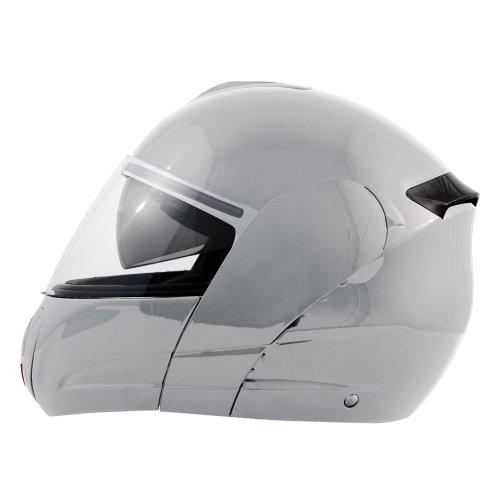 AKIRA Casque Moto Intégral Hirosaki, Argenté, L