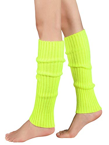Leg Warmers for Women Girls 80s Ribbed Leg Warmer for Neon Party Knitted Fall Winter Sports Socks Yellow