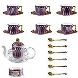 Taza de Latte Art Conjunto de té de la tarde Conjunto de taza y platillo, Tetera de la flor de calefacción de vidrio con filtro 4,6, Set, Ningún Caja de regalo del soporte de taza, Adecuado para el ho
